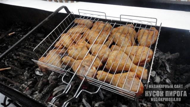 Шашлык из курицы маринованный на кефире