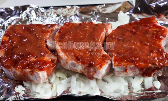 Свиной стейк на кости в духовке - 9 пошаговых фото в рецепте