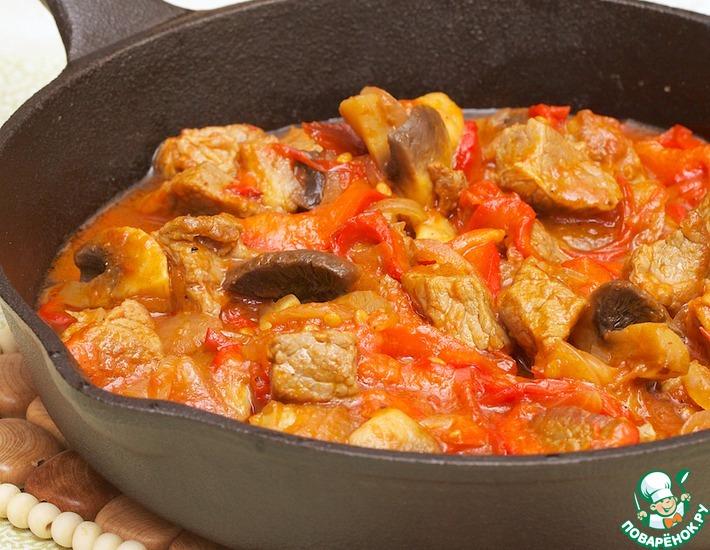Шашлык из говядины на мангале, маринад на кефире и горчице