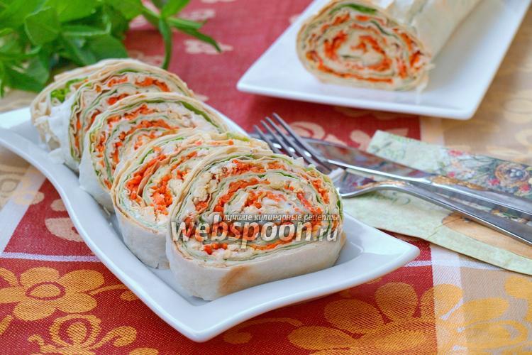 Рулеты из лаваша с корейской морковкой — домашние рецепты вкусной закуски к праздничному столу