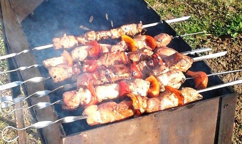 Шашлык из свинины с грибами