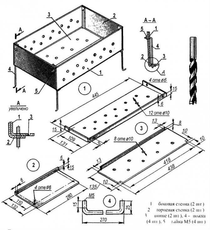 Мангал «чемодан»: чертеж и размеры складной конструкции, раскладной переносной «чемоданчик» из нержавейки своими руками