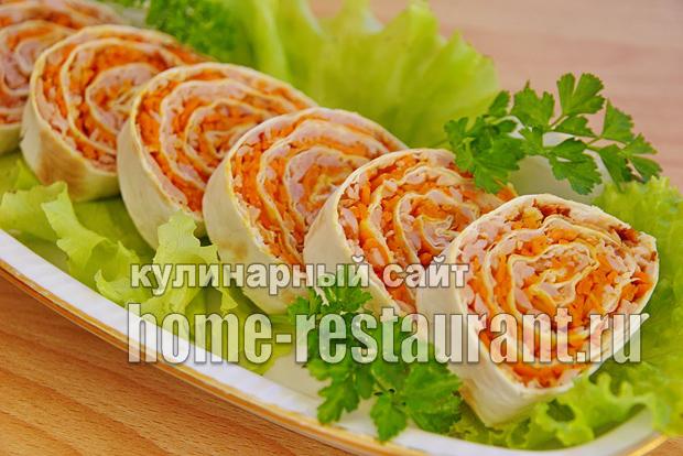10 идей для рулетиков из лаваша с корейской морковкой
