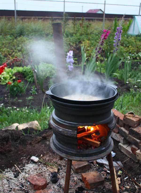 Печка из автомобильных дисков своими руками: для казана, бани и барбекю - как сделать из старых колес  фото и видео