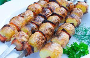Шашлык с салом и картошкой