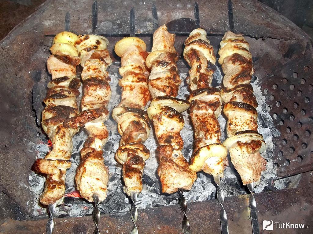 Шашлык из свинины в майонезе с луком на сковороде гриль