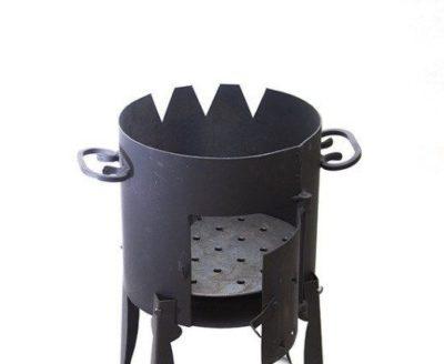 Простая печь для казана из трубы своими руками