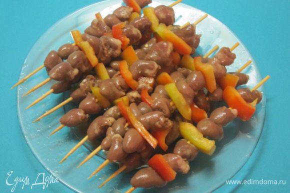 Шашлык из куриных сердечек на мангале, в духовке - рецепты