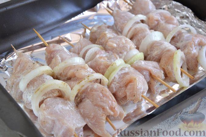 Шашлык из курицы в кефирном маринаде