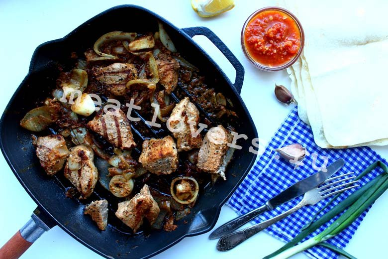 Шашлык на сковороде - пошаговый рецепт с фото | блюда из мяса