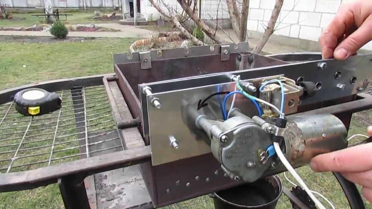 Как собрать практичный мангал с электроприводом своими руками
