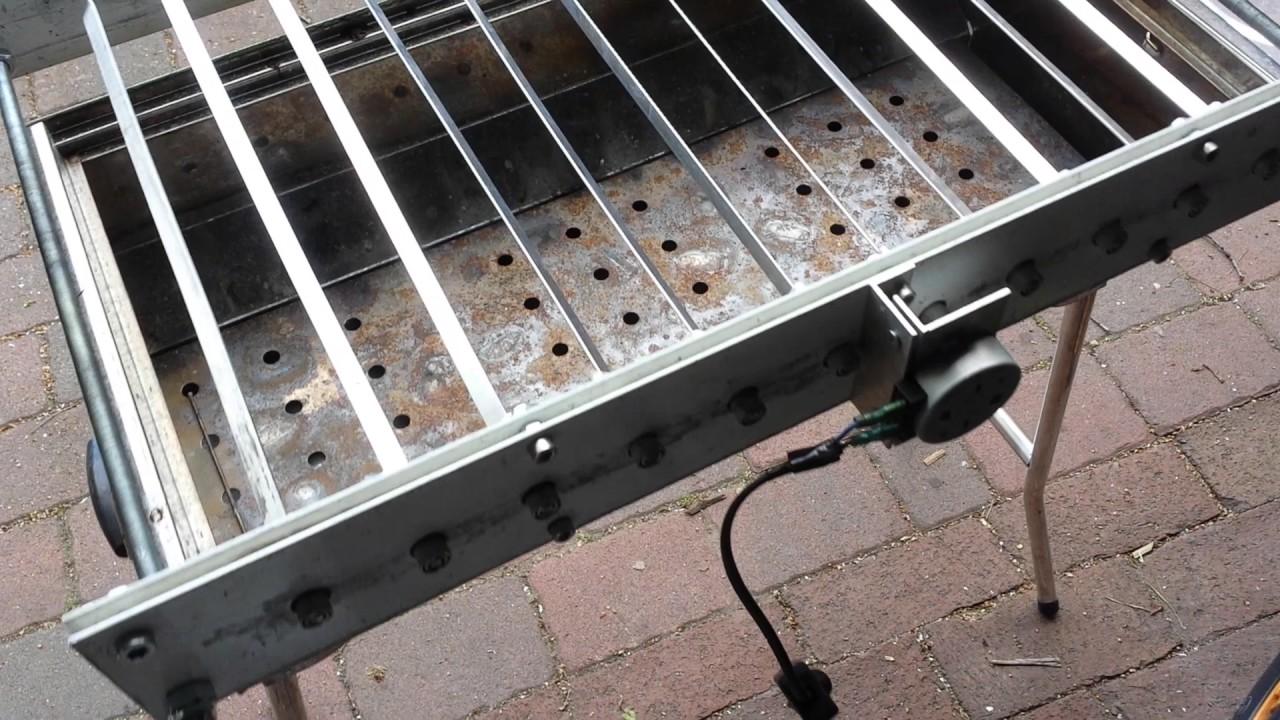Автоматический мангал: модель с электроприводом для шампуров своими руками, выбор механического электромангала для дачи