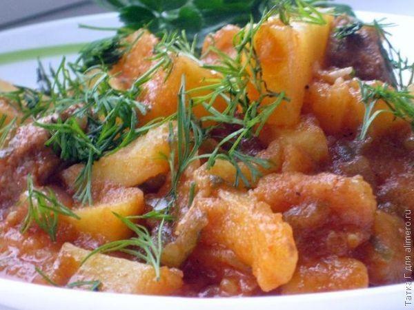 Азу по-татарски с солёными огурцами — классический рецепт азу из говяжьего мяса