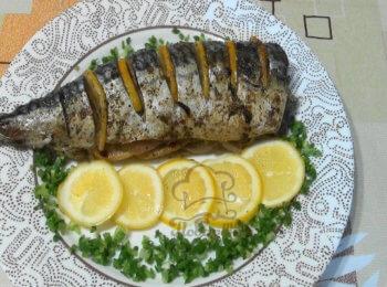 Скумбрия с лимоном, запечённая на мангале - 6 пошаговых фото в рецепте