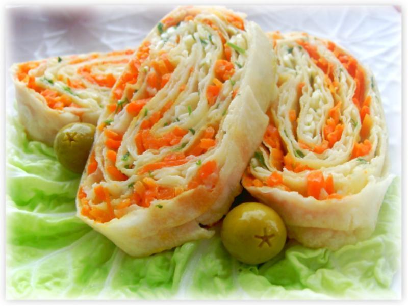 Рулет из лаваша с морковкой: пошаговый рецепт с фото