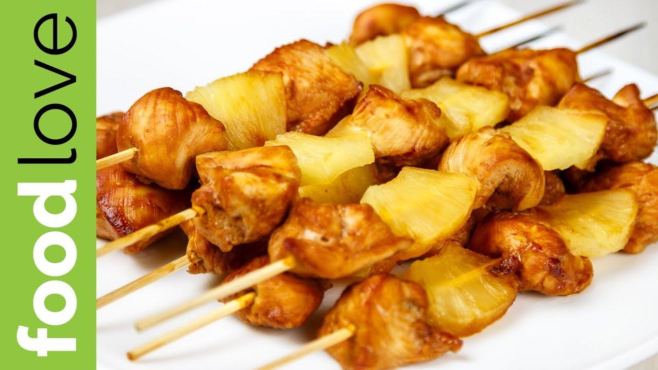 Шашлык из курицы с ананасом - рецепт с фото пошагово | cookjournal.ru